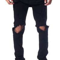 The Essential Denim Jeans in Jet Black Distress