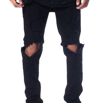 The Essential Denim in Jet Black Distress