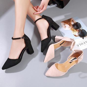 Women All-match Fashion Suede Ankle Strap Shallow Mouth Pointed Toe Sandals Block Heels Shoes
