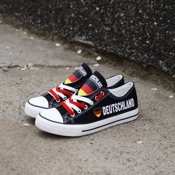 Deutschland Proud Low Top Canvas Shoes Custom Printed Sneakers
