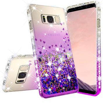 Samsung Galaxy Note 5 Case Liquid Glitter Phone Case Waterfall Floating Quicksand Bling Sparkle Cute Protective Girls Women Cover for Galaxy Note 5 - Purple