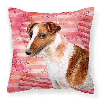 Smooth Fox Terrier Love Fabric Decorative Pillow BB9734PW1414