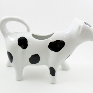 Cow Cream Pitcher Black White Hand Painted Creamer