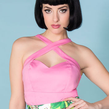 Final Sale - Deadly Dames Voodoo Vixen Top in Bubble Gum Pink