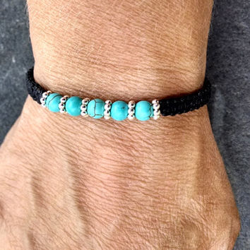 Turquoise and silver beaded bracelet, gemstone macrame bracelet, turquoise friendship bracelet, beaded friendship bracelet, gifts for her