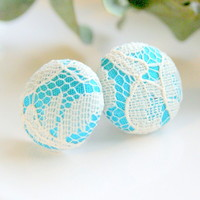 Light Blue And White Lace Stud Earr.. on Luulla