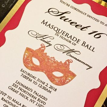 Masquerade Party Invitation - Modern Sweet 16 Invite - HAILEY VERSION