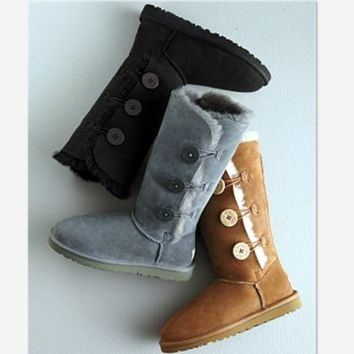 """UGG"" Women Fashion Wool Snow Boots three Button (5-color)"