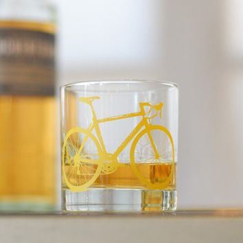 4 hand printed bike rocks glasses yellow bicycle by vital on Etsy