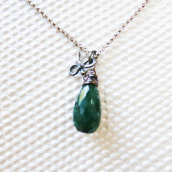 Sterling Silver Emerald Pendant Necklace Oxidized Silver by sukran