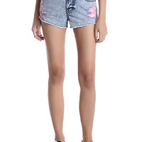 Blackheart Pink Destructed Indigo Wash Shorts