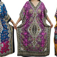 Mogul Womens Caftan House Dress Cover Up Evening Maxi Kaftan Wholesale Lot Of 3 Pcs