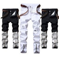 New Fashion Men Biker Jeans Ripped Denim Slim Fit Motorcycle Pant Classic Hip Hop Skinny Casual Autumn Stretch Jeans 2Colors