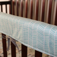 Herringbone Crib Rail Guard- Navy, Aqua, Mint Quick Ship - Pink, Orange, Yellow