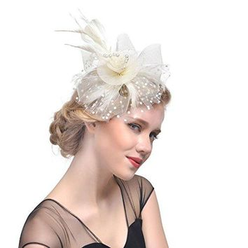 Zongsi Fascinators Hat Flower Mesh Feathers Hairpin Hat Clip Cocktail Tea Wedding Party Headwear for Girls and Women