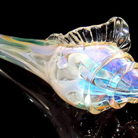 Color Changing Glass Sea Shell Pipe - Unique Large Heady Seashell Smoking Bowl Double Fumed with Silver and Gold