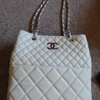 CHANEL Bag Purse Lamb Skin Quilted IVORY Shopper Zip Tote Chain Straps W/ Box