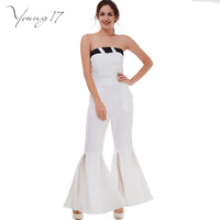Young17 Women Sexy Strapless flare Jumpsuits Lady White Sleeveless Slash Neck Club Jumpsuit Long Pants One Piece Overalls Romper