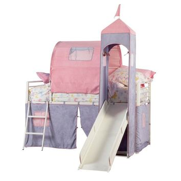 Princess Castle Tent Bunk Bed with Slide at Brookstone—Buy Now!