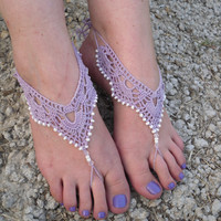 Free Shipping! Crochet Barefoot Sandals Beaded Barefoot Foot Jewlery Wedding Beach Foot Acessories Summer
