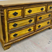 Yellow Vintage Dresser/ Buffet/ Bedroom Furniture/ Black Drawer Pulls/ TV Stand/ Storage/ Dining Room Furniture/ Distressed