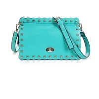 Buy Retro Style Rivets Decorated Envelope Bag Green with cheapest price|wholesale-dress.net