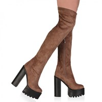 Kayla Taupe Faux Suede Over The Knee Boots