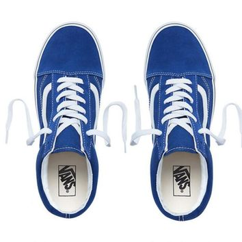 Vans Popular Women Men Casual Canvas Old Skool Flats Sneakers Sport Shoes Sapphire Blue I