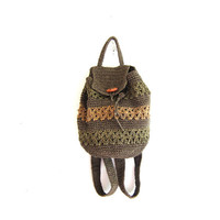 Vintage Woven Backpack. raffia Rucksack. Bucket Bag. Shoulder Purse.