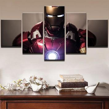 Canvas 5 Pieces Superhero Movie Iron Man Living Room Home Decor Modular Pictures