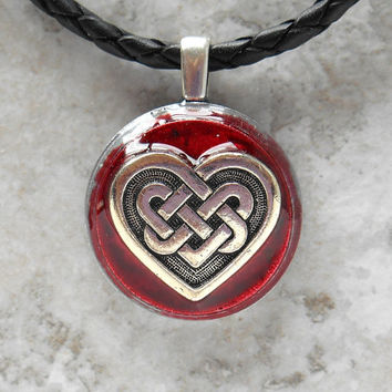 celtic heart necklace: red - heart jewelry - triquetra necklace - celtic jewelry - unique gift - celtic knot - valentines day - love