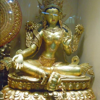 China Tibet Gold pure bronze Buddhism White TARA buddha Sculpture statue