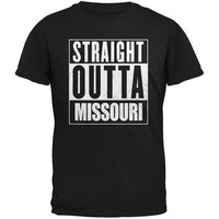 Straight Outta Missouri Black Adult T-Shirt