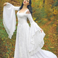 Lady Gwen Lace Up Fantasy Fairy Medieval Wedding Velvet and Lace Gown Custom