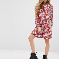 Reclaimed Vintage Open Back Swing Dress In Sparse Floral Print at asos.com