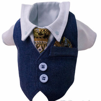 Saturday Nite Formal Style Designer Boy Dog  Denim Vest, Shirt, Tie
