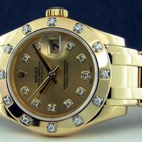 ROLEX - Ladies 18kt Gold Pearlmaster Diamond MASTERPIECE 80318 - SANT BLANC