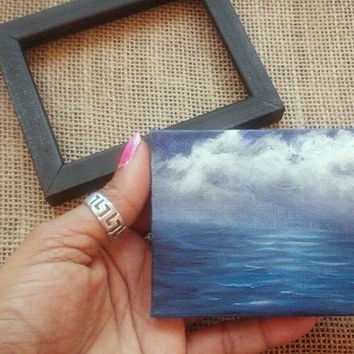 "Original Mini Oil Painting of Sea 2 7/8""x 3 7/8"" with Frame READY to SHIP"