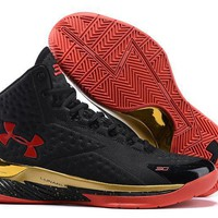 Under Armour Curry Black /Red /Gold Basketball Shoes