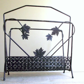 Vintage Magazine Rack Metal Holder Lp Storage Black With Leaves