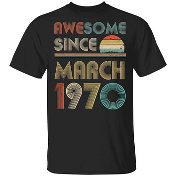 Awesome Since March 1970 Vintage 50th Birthday Gifts