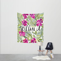 Killin' It – Tropical Pink Wall Tapestry by Cat Coquillette