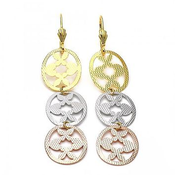 Gold Layered 5.115.015 Long Earring, Heart and Flower Design, Diamond Cutting Finish, Tri Tone