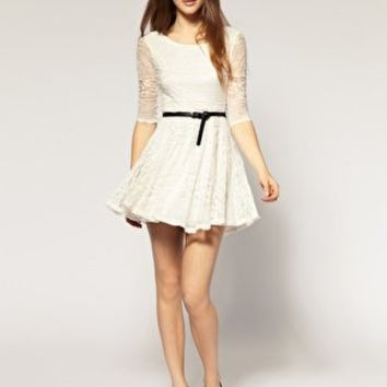 River Island   River Island Belted Lace Dress at ASOS