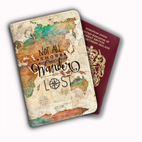 Not All Who Wander Are Lost Blue World Map Leather Passport Covers
