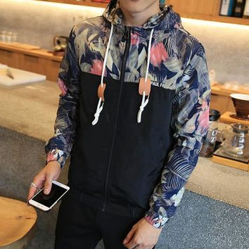 Trendy Flower Printed New 2018 Jacket Men Fashion Casual Loose Outerwear Zipper Type Mens Thin & Short Coat Male Hoodies Spring Bomber AT_94_13