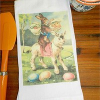 Vintage Rabbit Flour Sack Towel Decorative Easter Gift Towel