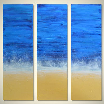 Sea Spray II: Triptych Original Abstract Landscape Beach Painting - Golden White Sand, Ocean Waves Breaking on Shore, Blue Skies - 24 x 24