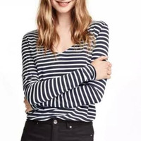 Black Stripe V-Neck Long-Sleeve Shirt
