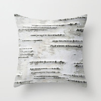 Birch Tree Bark - White, Black, Taupe, Beige - Throw Pillow Cover
